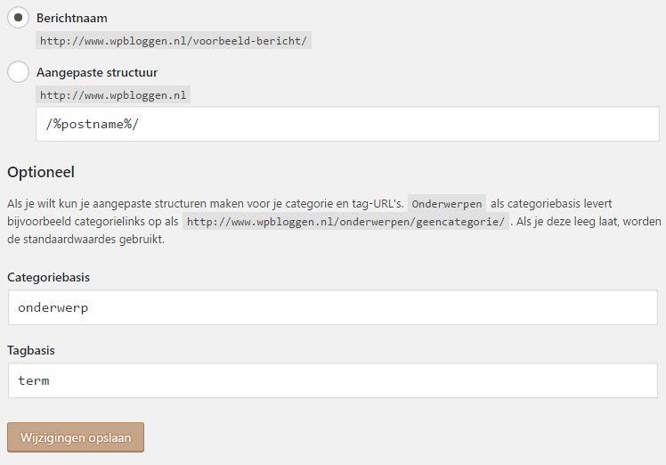 Permalink Optie instellingen ‹ WP Bloggen NL