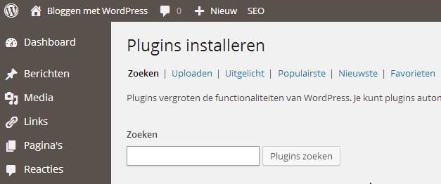 Standaard WordPress Plugins zoeken in installeren